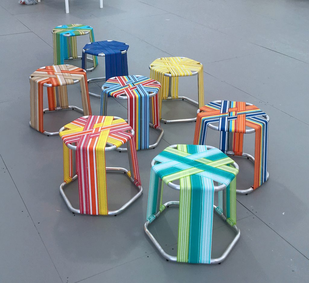 AMLgMATD, WEBSTR Stools, 2018, aluminum tubing, polypropylene webbing, zinc-plated screws, rubber feet, dimensions variable.  Photo credit: AMLgMATD