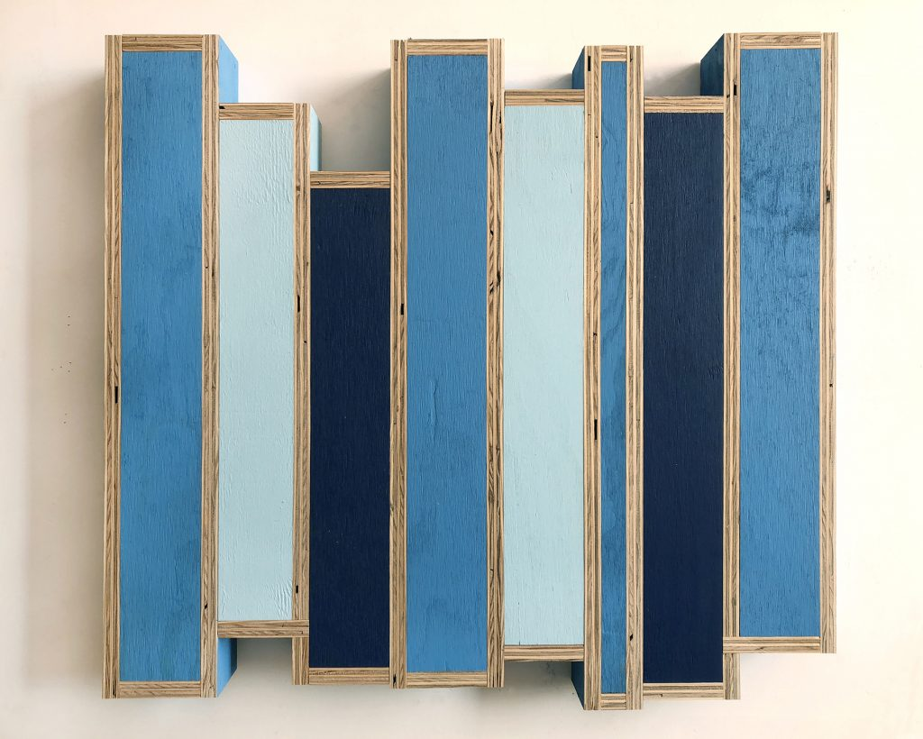 "GT Pellizzi, Frequency Hopping in Azure, Celeste and Blue (Figure 25), 2018, eggshell acrylic on plywood, 29.5"" x 32.5"""