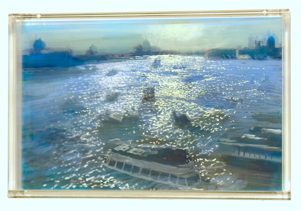 Martin Weinstein, Venice, Afternoon Traffic, 2 Days (2017), acrylic on multiple acrylic sheets, 11 x 17 inches