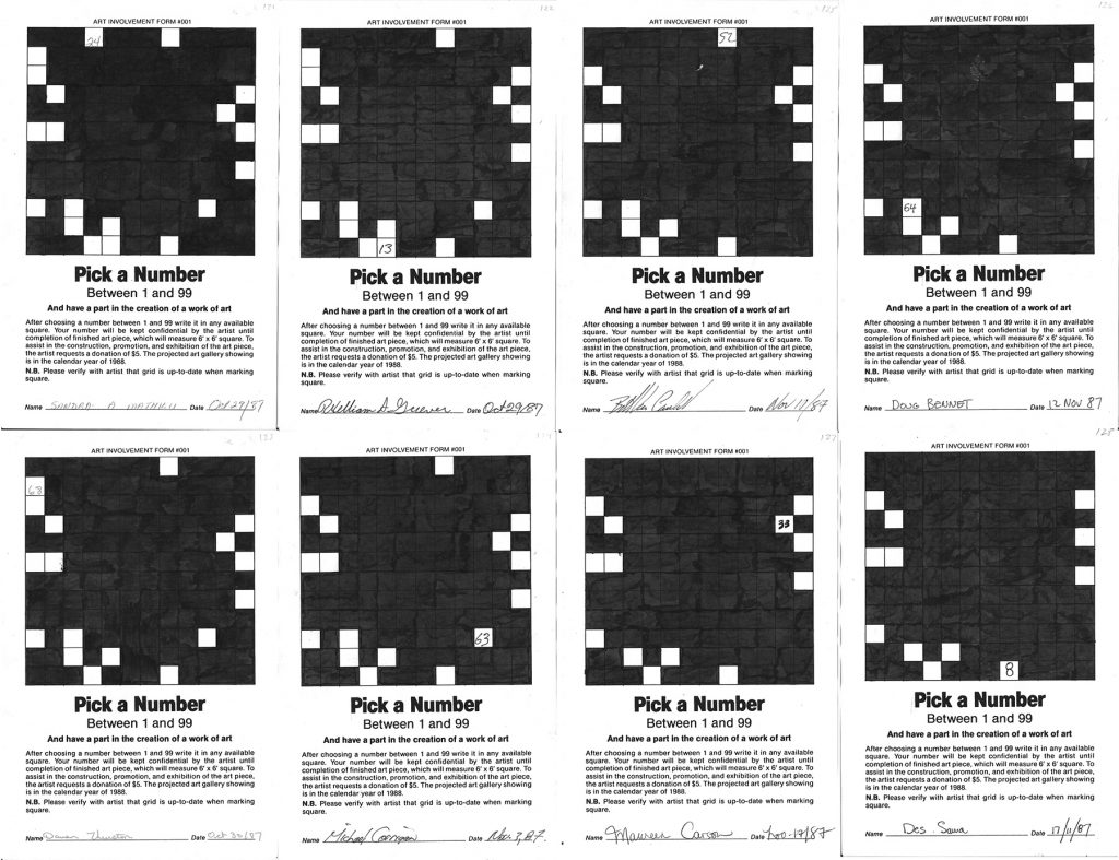Steve Rockwell, Pick a Number between 1 and 99 (detail), 1987, ink on printed bond paper, 42.5 inches x 12 feet 10 inches