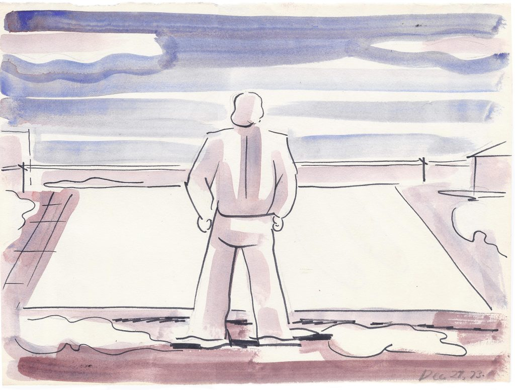Jouko Salomaa, Field Work, December 23, 1973. ink and water color on paper, 9 x 12 inches