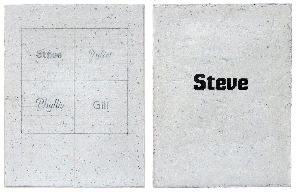 Steve Rockwell, Steve, Juliet, Phyllis, Gill (left), and Steve (right), 2018, pencil and acrylic on dArt International paper, 21 x 16 inches each