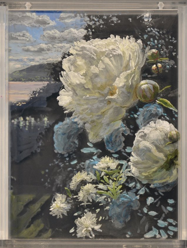 Martin Weistein, Peonies and Moonlight, 2020, acrylic pigment on acrylic panels, 11.5 x 14.5 x 5 inches