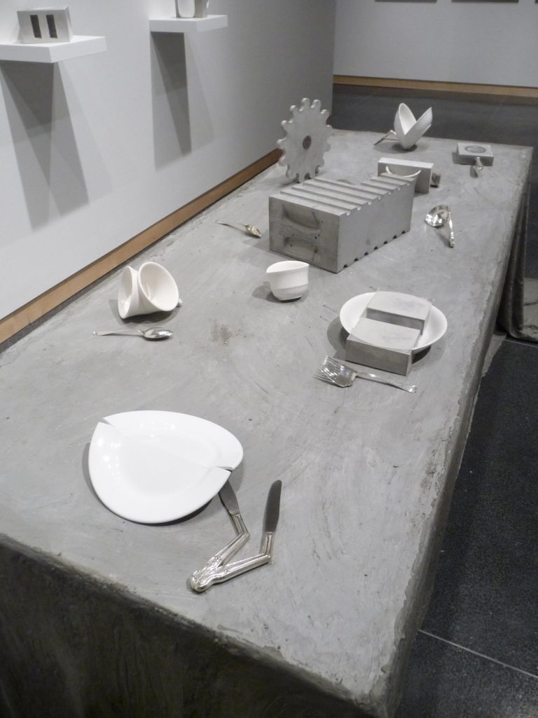 Jaroslava Prihodova, Dislocation (2016), concrete, porcelain, glass, wood, silver-plated brass, silver-plated nickel, sterling silver, steel and cotton, variable size (photo: courtesy of the artist)