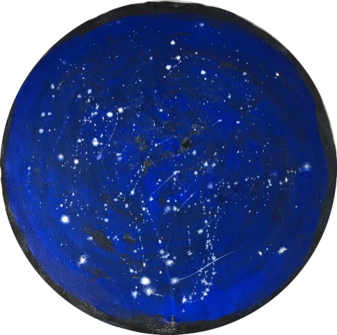Lenora Rosenfield, Night 1, 2020, fresco and egg tempera on fabric, 35 inch diameter.