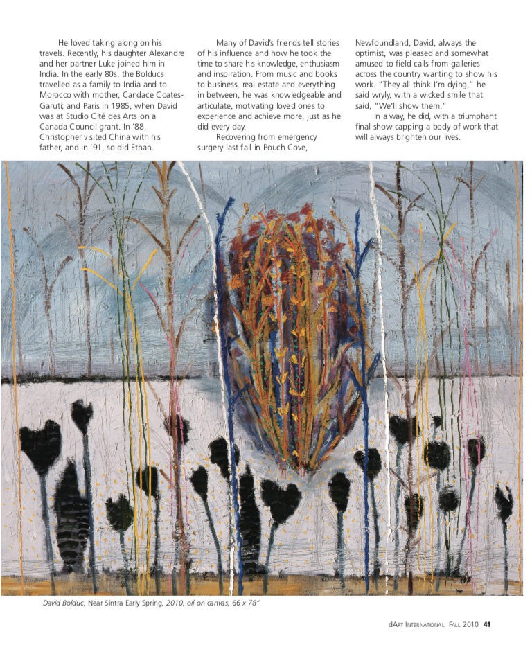 Fall 2010 dArt magazine page 41 with David Bolduc Near Sintra Early Spring painting.