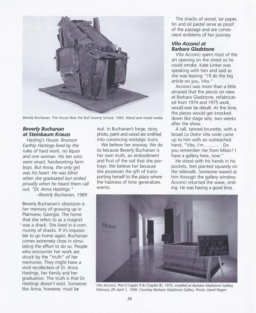 The Spring 1998 edition of dArt, highlighting page 36 with reviews on Beverly Buchanan and Vito Acconci.