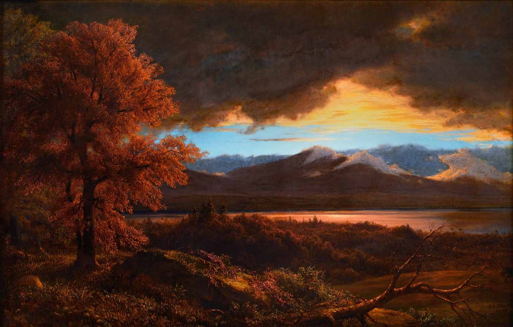 """Frederic Edwin Churh, """"After the Rainstorm,"""" oil on canvas mounted on panel, 22 1/2 x 33 1/2, 1875"""