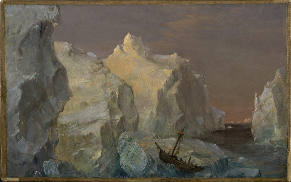 "Frederic Edwin Church, ""Icebergs and Wreck in Sunset,"" oil on paperboard mounted on canvas, 8 1/4 x 12 1/4 inches, 1860, Courtesy of Mnuchen Gallery, New York"