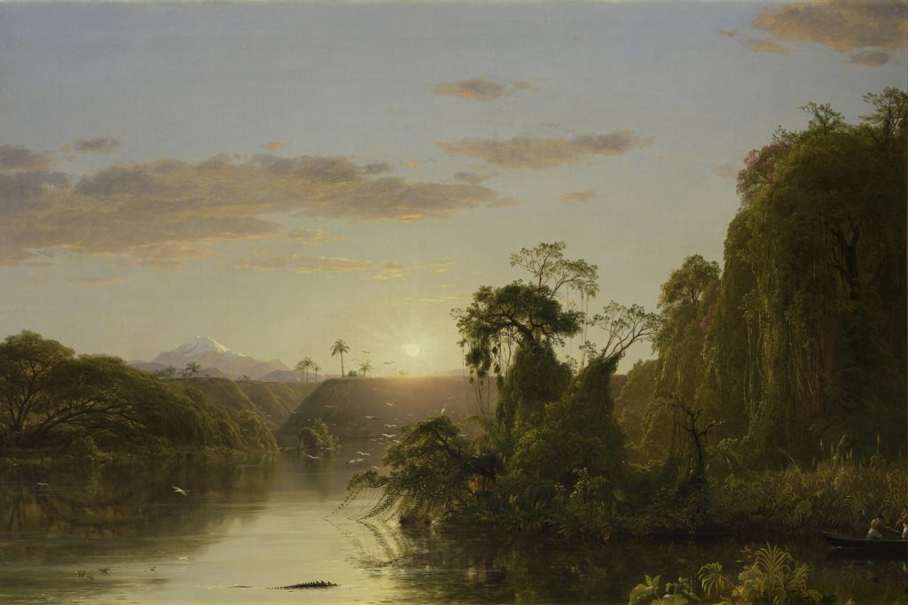 "Frederic Edwin Church, ""Scene on the Magdalena,"" oil on canvas, 28 1/4 x 42 inches, 1854, Courtesy of Mnuchin Gallery, New York"