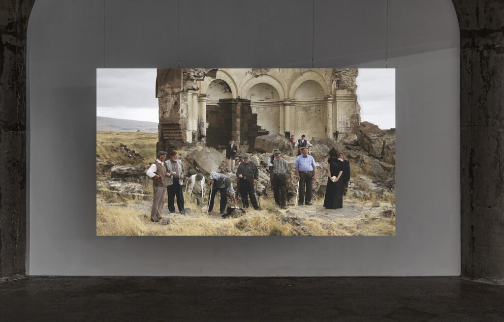 Fatma Bucak, Blessed are you who come – Conversation on the Turkish-Armenian border, 2012, installation view: Acts of Erasure, MOCA Toronto, 2020. Photo: Toni Hafkenscheid