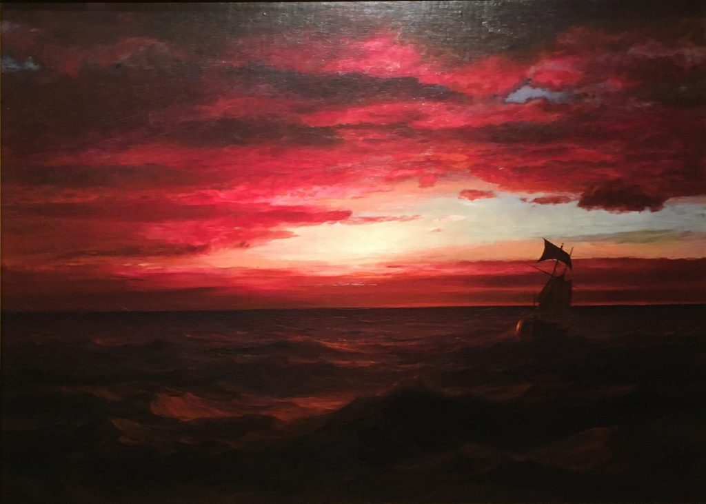 "Frederic Edwin Church, ""Marine Sunset, (The Black Sea),"" oil on canvas, 30 1/8 x 42,"" 1881 - 1882, Courtesy of Mnuchin Gallery, New York"