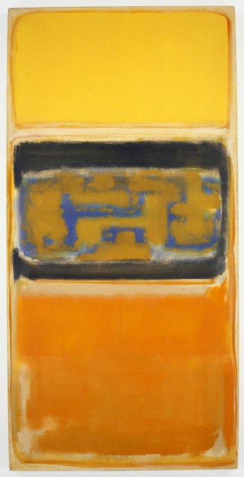 "Mark Rothko, ""No. 1,"" oil on canvas, 18 1/4 x 39, 5/8,"" 1949, Courtesy of Mnuchin Gallery, New York"