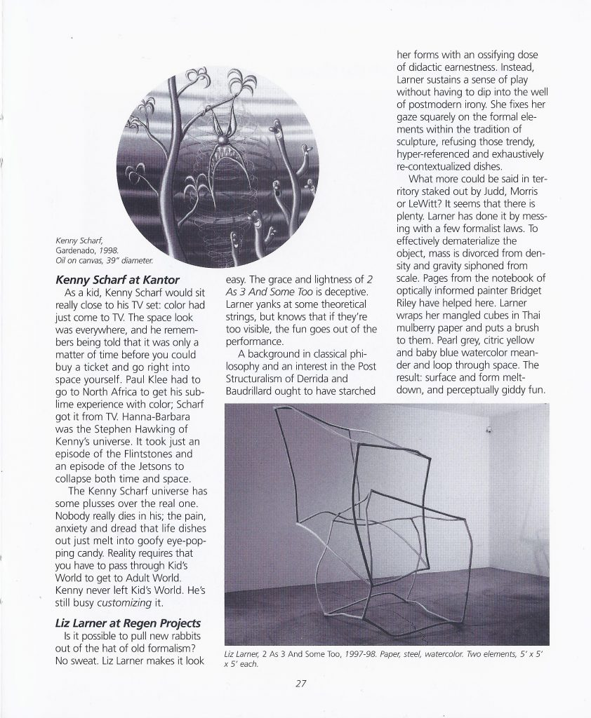 Scanned page from the Fall 1998 print edition of dArt International featuring reviews of Kenny Scharf at the Kantor Gallery and Liz Larner at Regen Projects in Los Angeles.