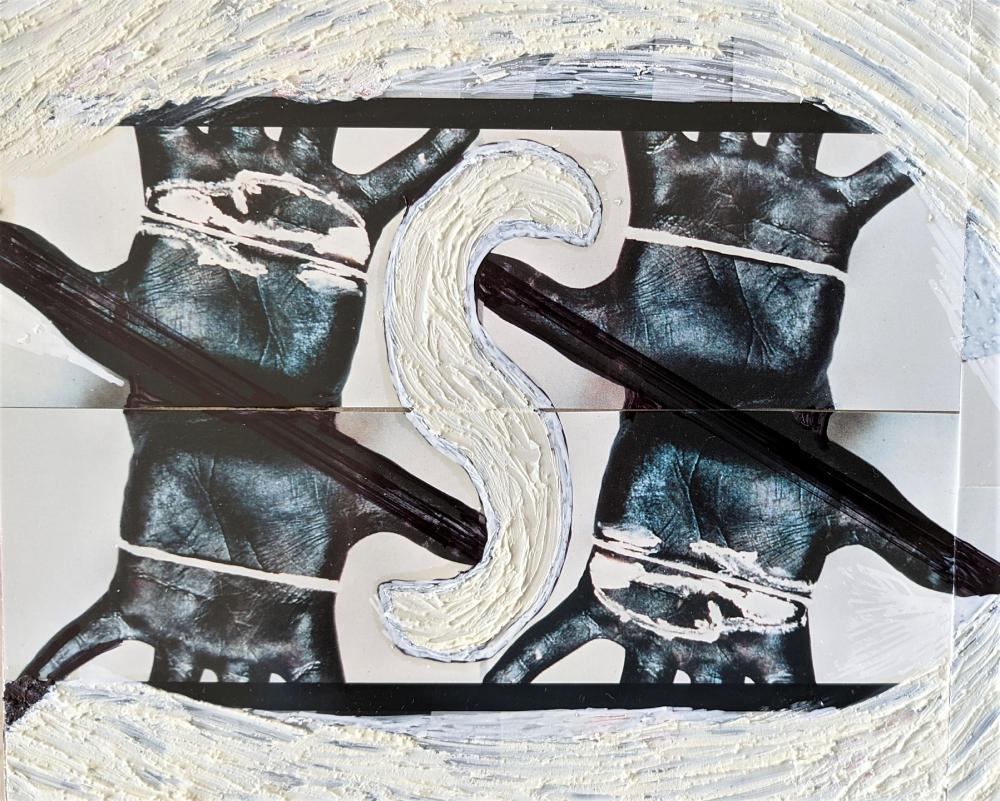 "Kaethe Kauffman, Palms Black 4-S&X © , 2021, collage, mixed media,  12"" x 14"""