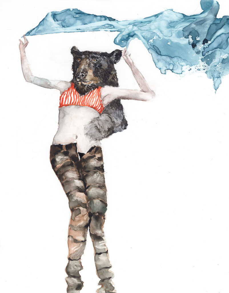 """Shari Weschler, Bear Stand, 2012, watercolor/graphite on paper, 12"""" x 9"""""""