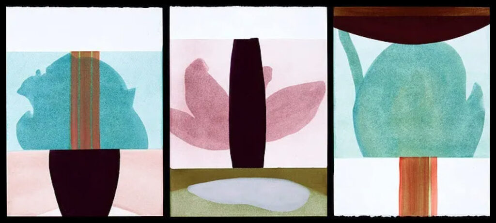 """Sarah Hinckley """"after the wind 14, 18, 12""""  - 2 versions- 1 installation view and 1 joined"""