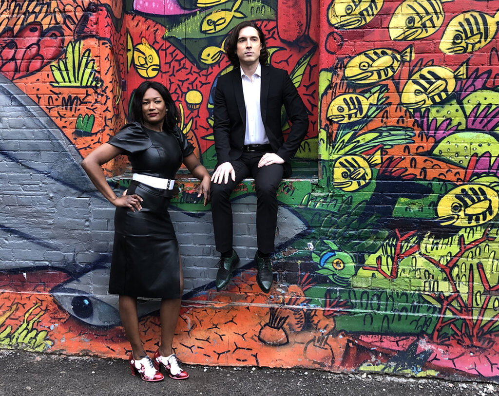 Irina De Vilhina and Kyle Shields photographed in one of the many graffiti-laden laneways in Toronto