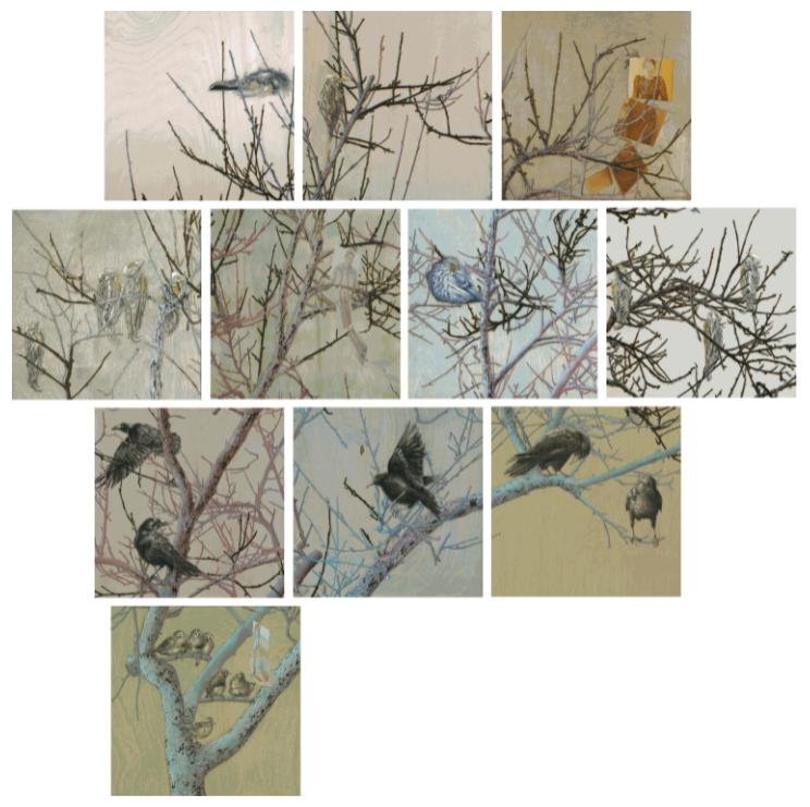 """Untitled I © Bobbie Moline-Kramer ink, charcoal, gold paint on wood board 8"""" x 8""""."""