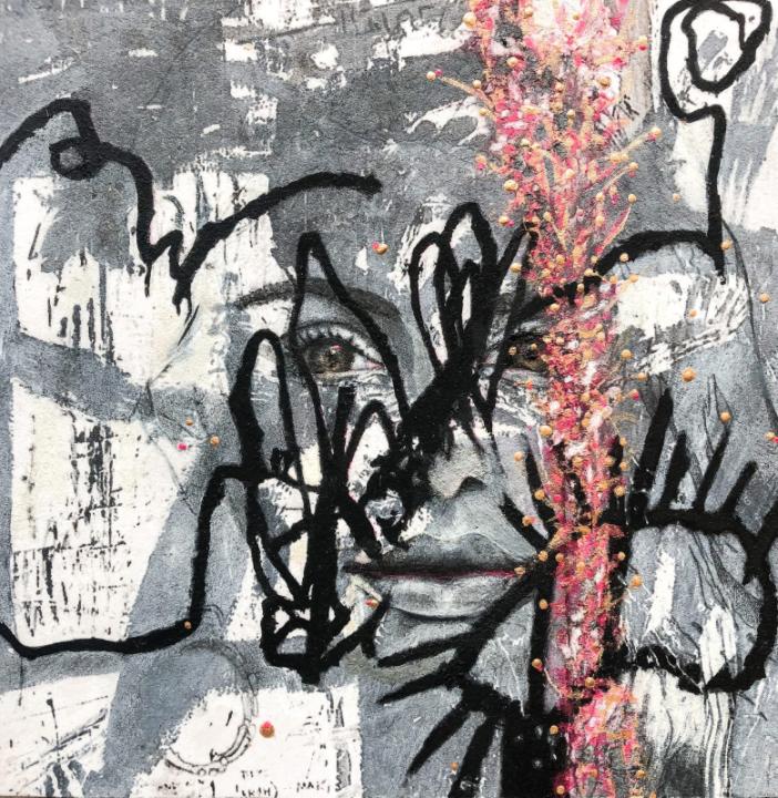 """Untitled I © Bobbie Moline-Kramer ink, charcoal, gold paint on wood board 8"""" x 8"""""""