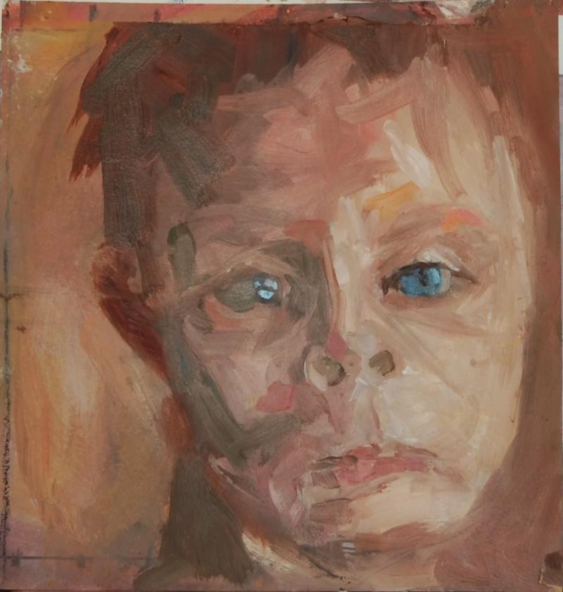 "Little Boy © James Singelis oil on paper 8.5"" x 9"""
