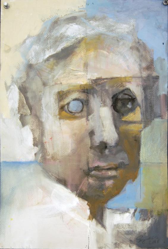 "Glass Eye © James Singelis, oils, collage on paper 18"" x 12"""