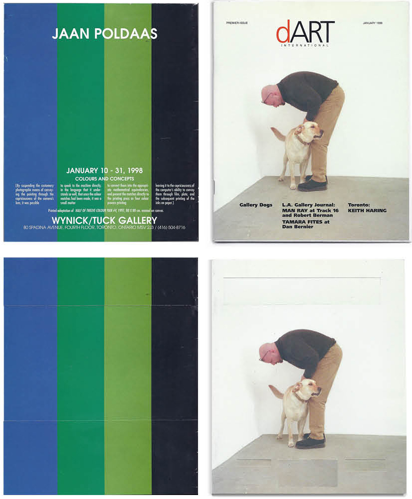 """Top: Steve Rockwell, Premier Edition of dArt, 1989, back and front covers. Above: Premier Edition of dArt (sans text), 2021, collage, 8.5"""" x 7"""" each"""