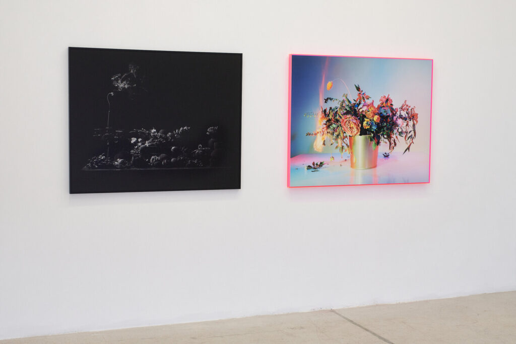 Installation view of Fire and Dust with Ryan Van Der Hout, Extinguished (left) and Amanda Arcuri, A Shot in the Dark 11 (right)
