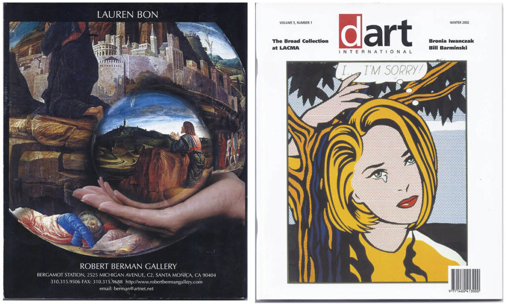 """Winter Edition of dArt magazine, 2002, back and front covers, 8.5"""" x 7"""" each page"""
