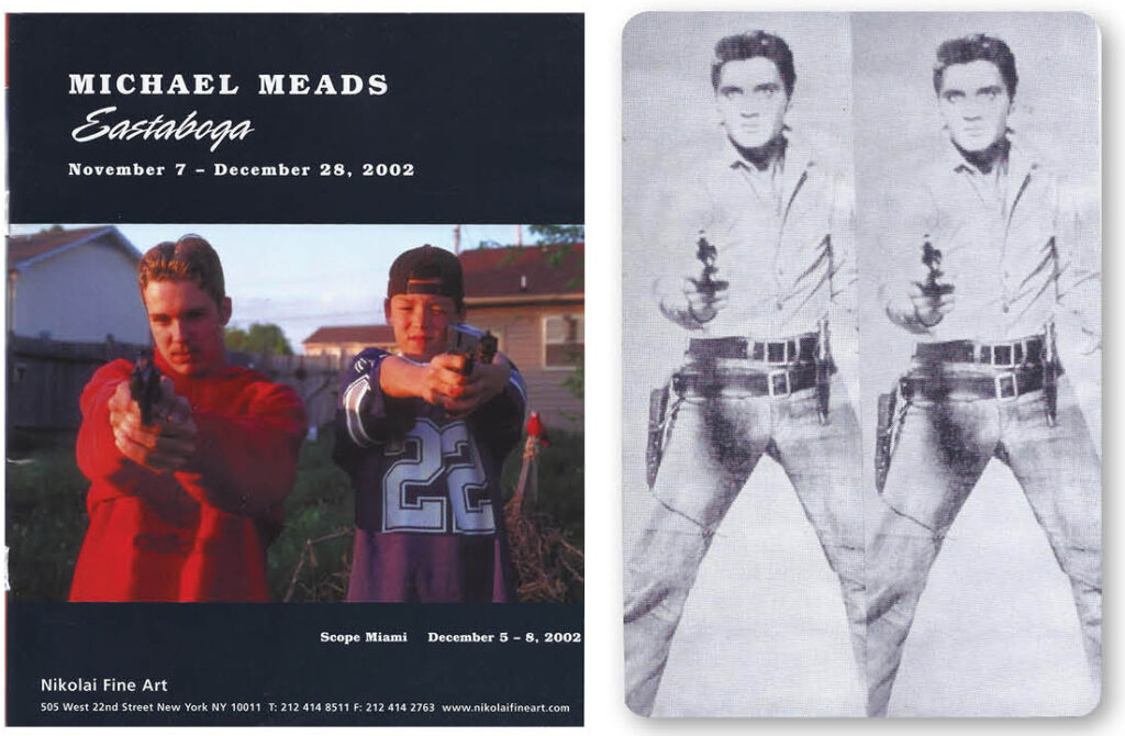 """Michael Meads, Eastaboga, 2002, dArt magazine ad for Nikolai Fine Art and Playing Card Elvis (double), 2021, collage, 2.25"""" x 3.5"""" (from Andy Warhol's 1963 Elvis)"""
