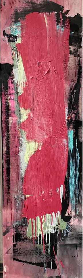 Tower © Francine Tint 2021 acrylic on canvas 56 x 16.5 inches
