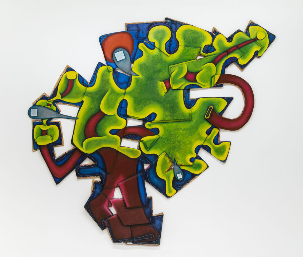 Elizabeth Murray, Riverbank,  1997, oil on canvas (four parts), 112 x 120 in. (284.5 x 304.8 cm). Collection of the @albrightknox, Sarah Norton Goodyear Fund, 1997 (1997:10)