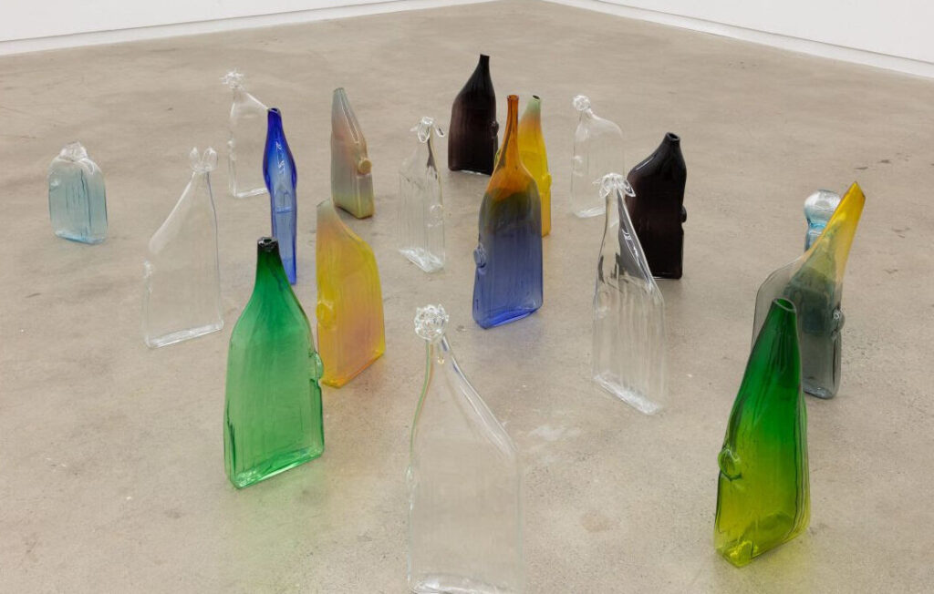 A series of glassworks by Lorna Bauer from her Sitio Bottles, 2018- 2021