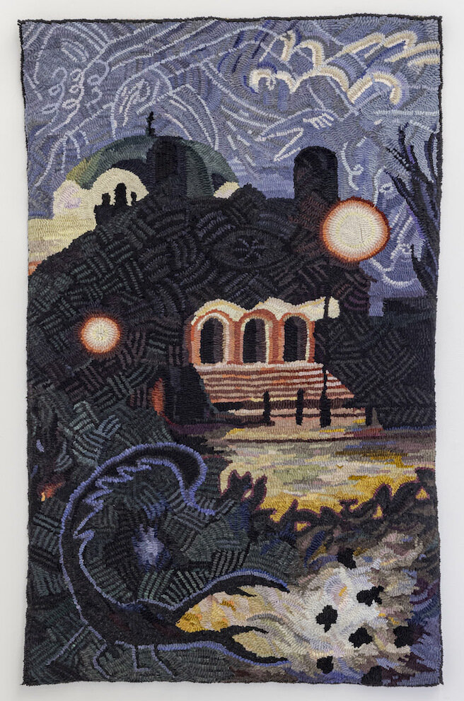 Heather Goodchild, Night at St. Anne's, 2020, wool and burlap, 33 x 53 in