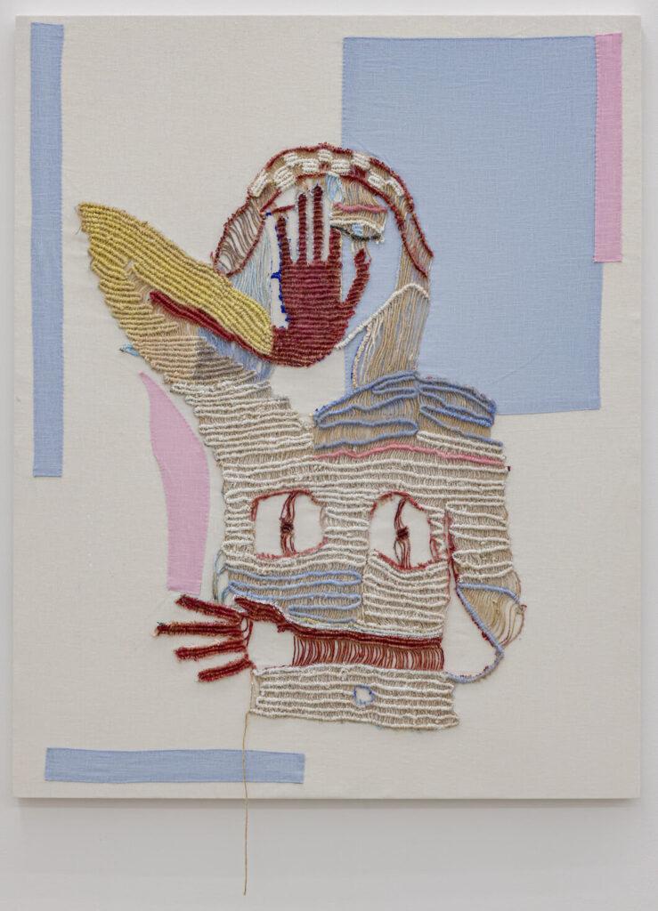 Sarah Cale, Buffer, 2021, jute, oil, linen on linen over panel; 39.7 x 31.5 in