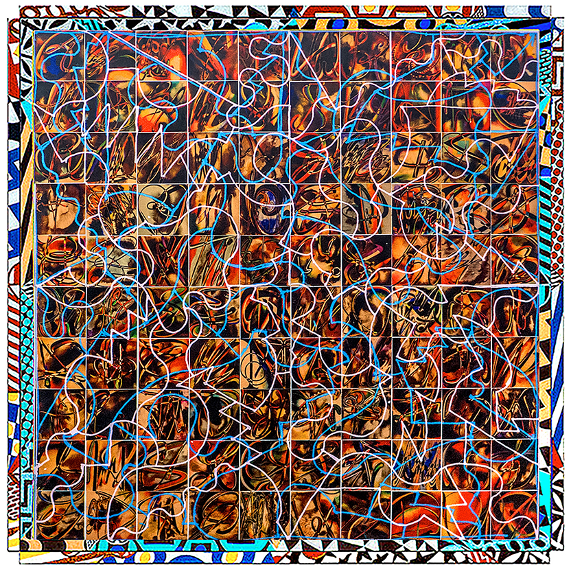 """Future Life PC Fred Gutzeit (2021) Acrylic on paper on canvas 72""""x72"""" Published courtesy of the artist and The Catherine Fosnot Art Gallery, New London CT"""