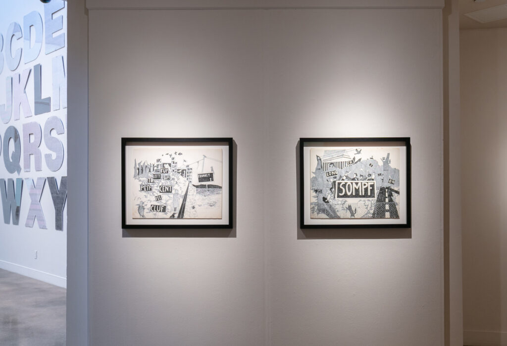Left: Roland Bernier, Untitled (Cluf) (1969), 19 x 24 inches, pen and ink drawing; Right: Roland Bernier, Untitled (Sompf) (1969), 18 x 24 inches, pen and ink drawing, (Represented by Walker Fine Art)