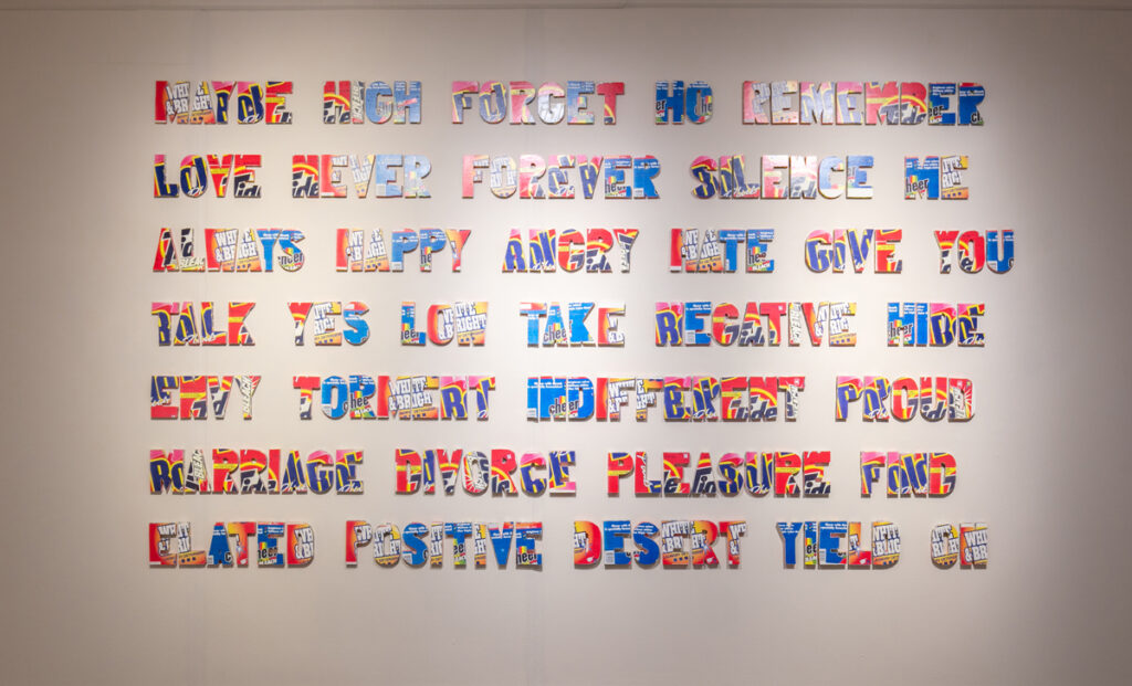 Left: Roland Bernier, Soap Opera (1997), 50 x 120 inches, mixed media, Xerox and wood, (Represented by Walker Fine Art)