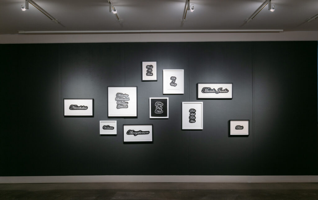 Jim Johnson, Installation View (2021), charcoal on paper, sizes variable (Represented by Rule Gallery, Denver/Marfa)