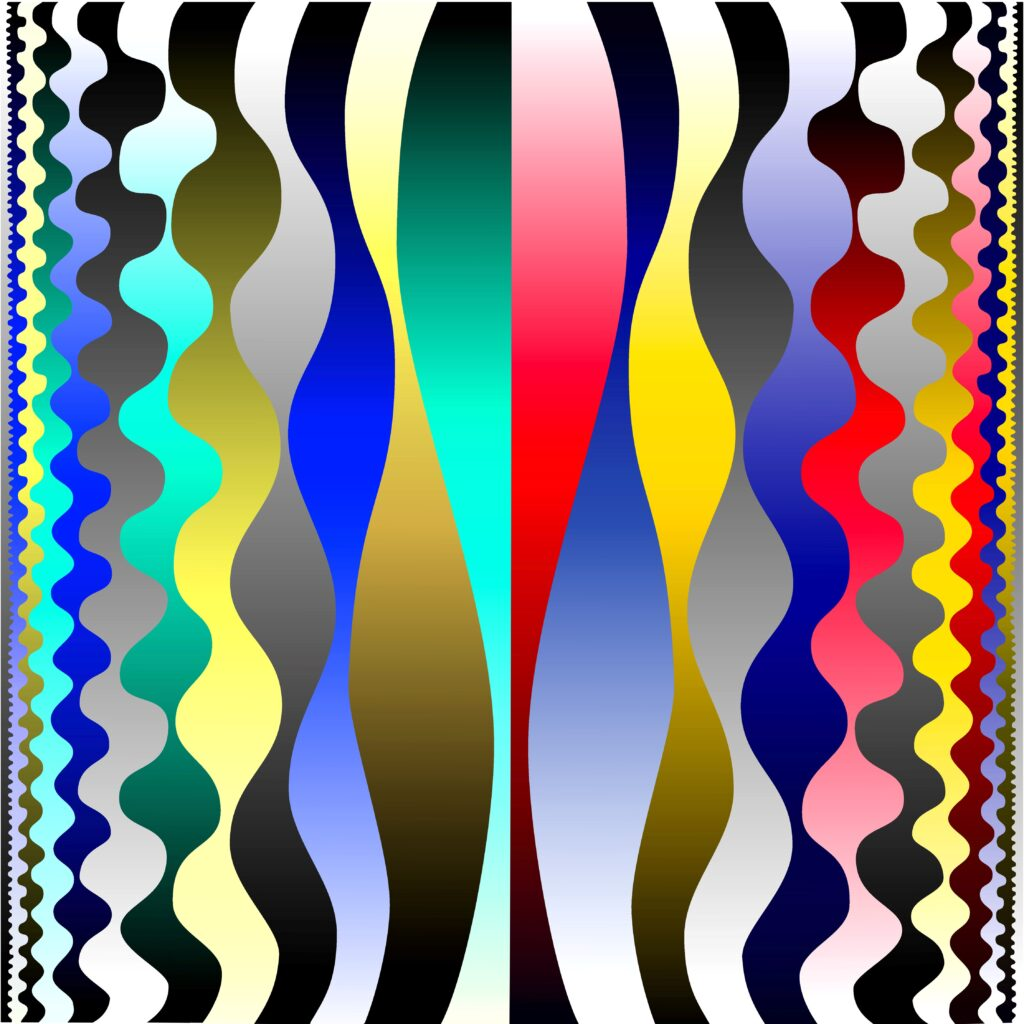 """Lee Waves Binary Fred Gutzeit (2009) Digital Vector print laminated onto aluminum, 17"""" x 17"""" Published courtesy of the artist and The Catherine Fosnot Art Gallery, New London CT"""