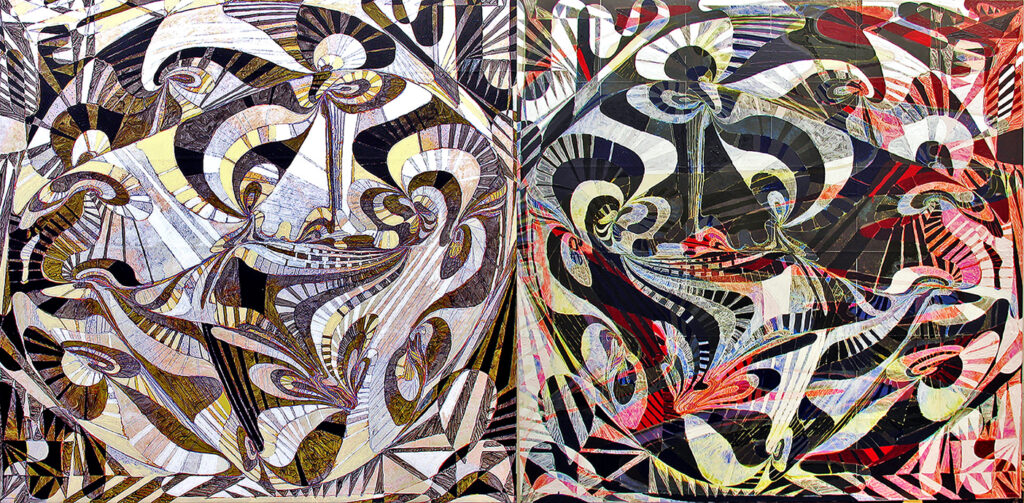 """Viva Calabi-Yau Binary Fred Gutzeit (2009) Acrylic on paper on canvas, Diptych 72"""" x 144"""" Published courtesy of the artist and The Catherine Fosnot Art Gallery, New London CT"""