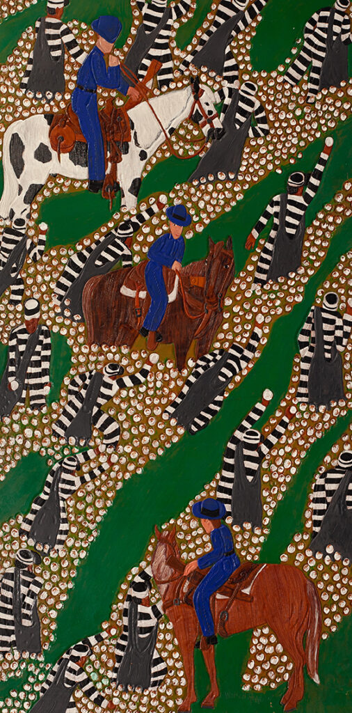 Winfred Rembert, Picking Cotton with Boss Man, 2007, dye on carved and tooled leather, 58.5 x 30.25 inches